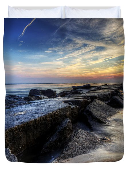 Delaware Sunrise At Indian River Inlet Duvet Cover