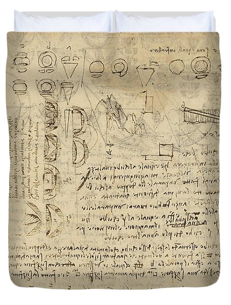 Delian Problem Or Doubling Cube Equivalence Among Various Parts Of Circle From Atlantic Codex  Duvet Cover by Leonardo Da Vinci