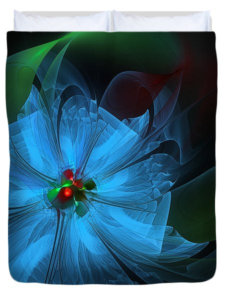 Delicate Blue Flower-fractal Art Duvet Cover