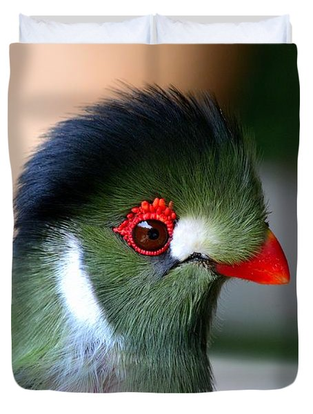 Delicate Green Turaco Bird With Red Beak White Patches And Black Crown Duvet Cover