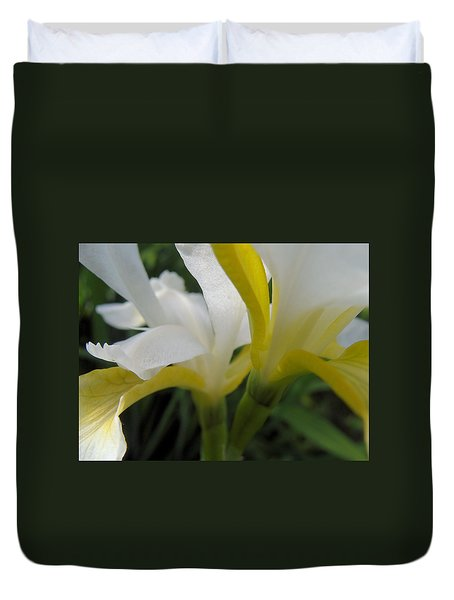 Duvet Cover featuring the photograph Delicate Iris by Cheryl Hoyle