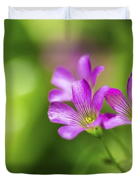 Delicate Purple Wildflowers Duvet Cover