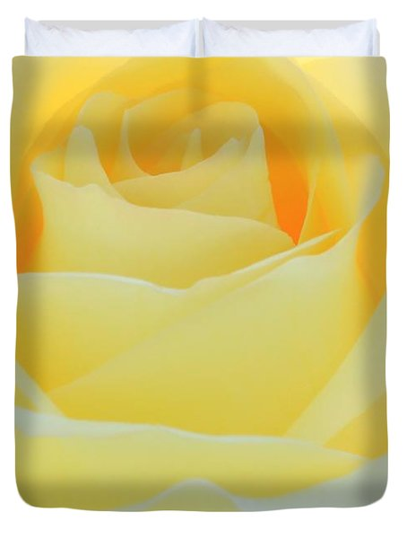 Delicate Yellow Rose Duvet Cover by Sabrina L Ryan