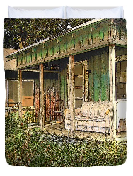 Delta Sharecropper Cabin - All The Conveniences Duvet Cover