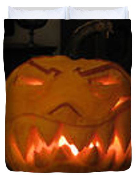 Duvet Cover featuring the sculpture Demented Mister Ullman Pumpkin 2 by Shawn Dall