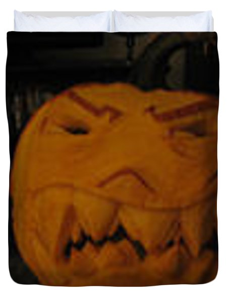 Duvet Cover featuring the sculpture Demented Mister Ullman Pumpkin 3 by Shawn Dall