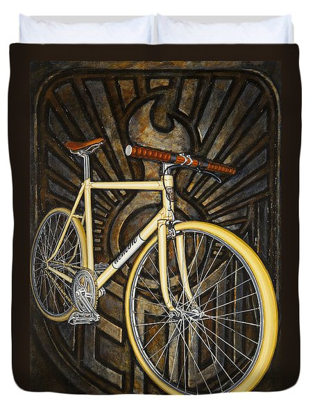 Demon Path Racer Bicycle Duvet Cover by Mark Jones
