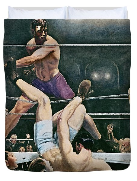 Dempsey V Firpo In New York City Duvet Cover by George Wesley Bellows