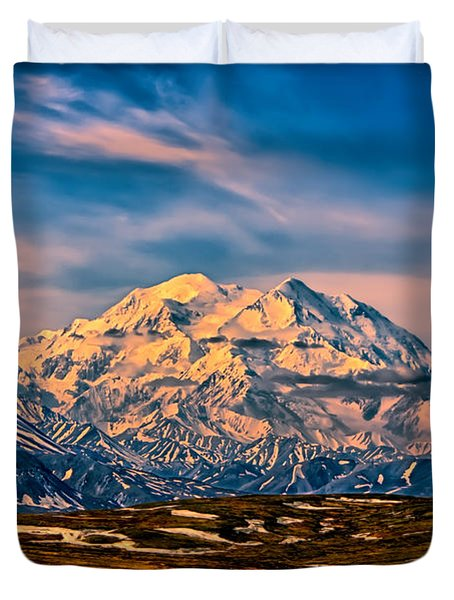 Denali At Sunset Duvet Cover