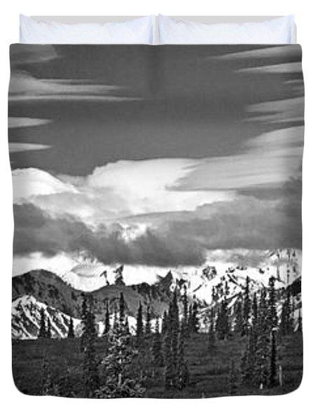 Denali In Clouds Duvet Cover