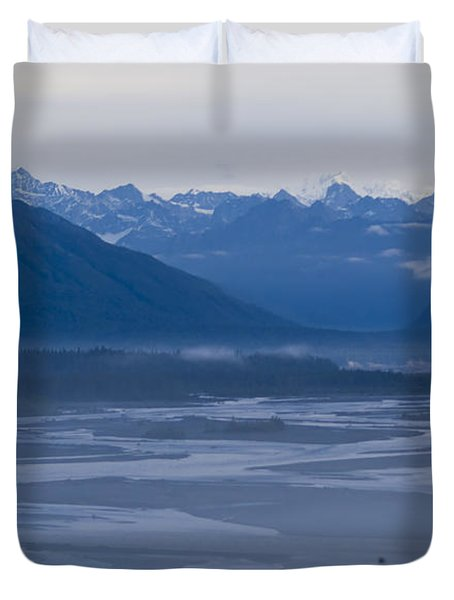 Denali Side Mountain Ranges Duvet Cover by Tara Lynn