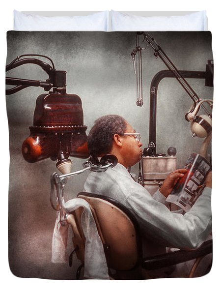 Dentist - Waiting For The Dentist Duvet Cover by Mike Savad