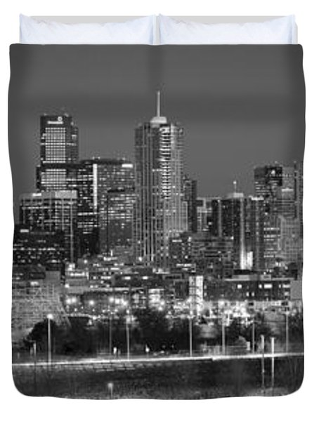 Duvet Cover featuring the photograph Denver Skyline At Dusk Black And White Bw Evening Panorama Broncos Colorado  by Jon Holiday