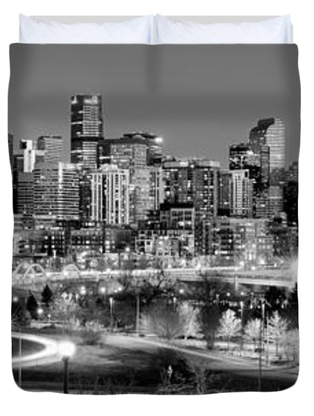 Duvet Cover featuring the photograph Denver Skyline At Dusk Evening Bw Black And White Evening Panorama Broncos Colorado  by Jon Holiday