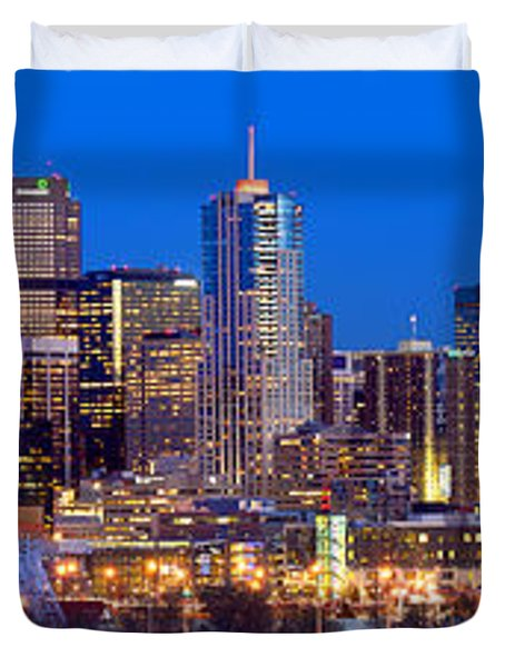 Duvet Cover featuring the photograph Denver Skyline At Dusk Evening Color Evening Extra Wide Panorama Broncos by Jon Holiday