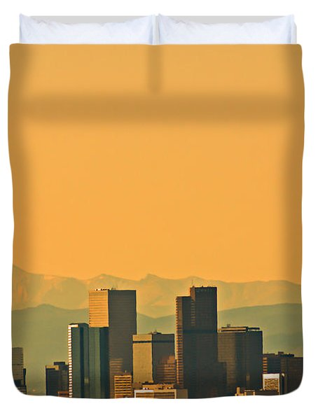 Duvet Cover featuring the photograph Denver Skyline by Colleen Coccia