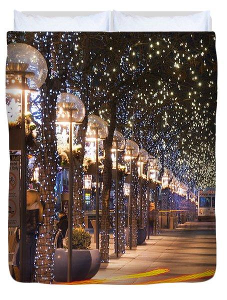 Denver's 16th Street Mall At Christmas Duvet Cover
