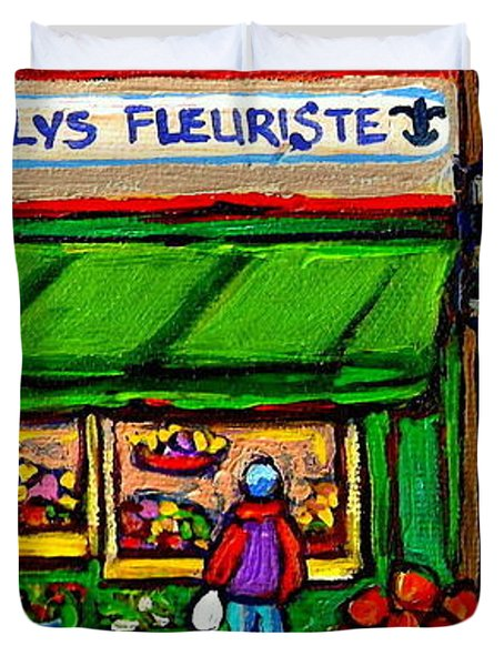 Depanneur Coca Cola Marche Fleuriste Maison De Pain Montreal Street Hockey Scenes Quebec Art  Duvet Cover by Carole Spandau