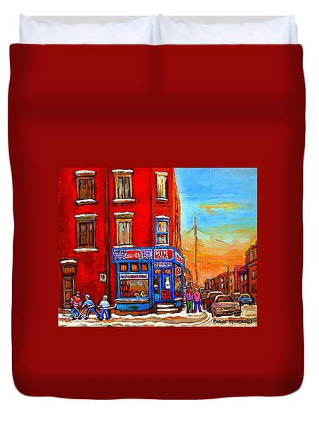 Depanneur Marche Fruits Verdun Restaurant Smoked Meat Deli  Montreal Winter Scene Paintings  Hockey  Duvet Cover by Carole Spandau