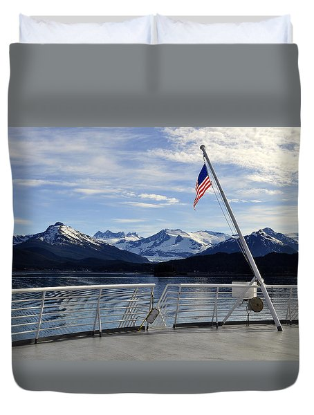 Duvet Cover featuring the photograph Departing Auke Bay by Cathy Mahnke