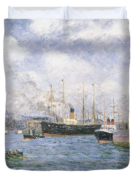 Departure From Havre Duvet Cover by Maxime Emile Louis Maufra