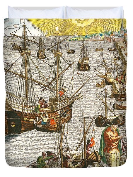 Departure From Lisbon For Brazil Duvet Cover by Theodore de Bry