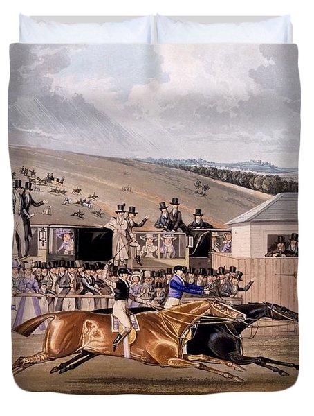 Derby Day At Epsom, 1828 Duvet Cover