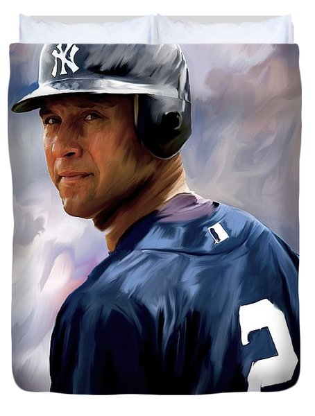 Derek Jeter  Duvet Cover by Iconic Images Art Gallery David Pucciarelli