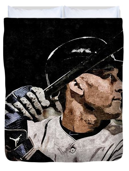 Derek Jeter On Canvas Duvet Cover