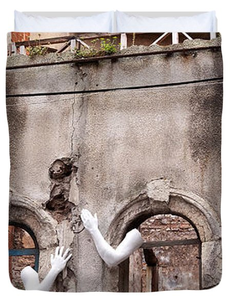 Derelict Wall Of Lost Limbs 02 Duvet Cover by Rick Piper Photography