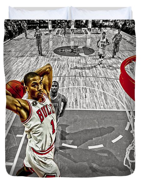Duvet Cover featuring the digital art Derrick Rose Took Flight by Brian Reaves