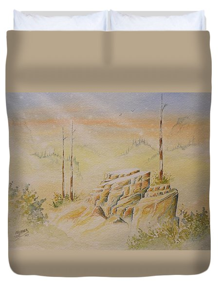 Duvet Cover featuring the painting Deschutes Canyon by Richard Faulkner