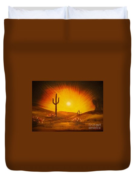 Duvet Cover featuring the painting Desert Aglow by Becky Lupe