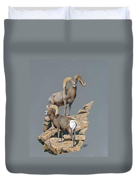 Desert Bighorn Rams Duvet Cover