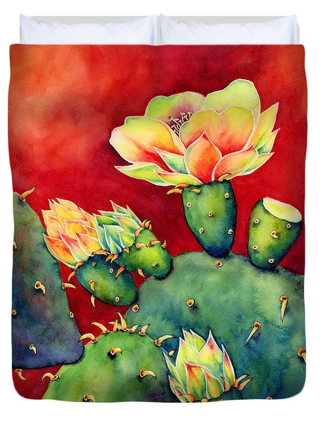 Duvet Cover featuring the painting Desert Bloom by Hailey E Herrera