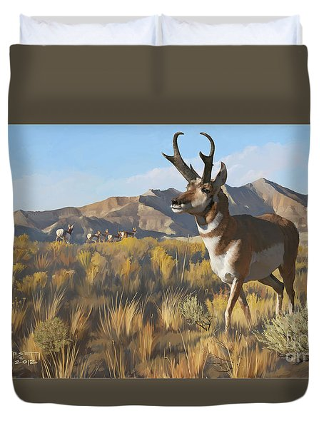 Duvet Cover featuring the painting Desert Buck by Rob Corsetti