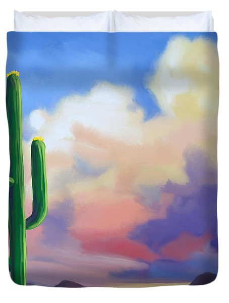 Duvet Cover featuring the painting Desert Cactus At Sunset by Tim Gilliland