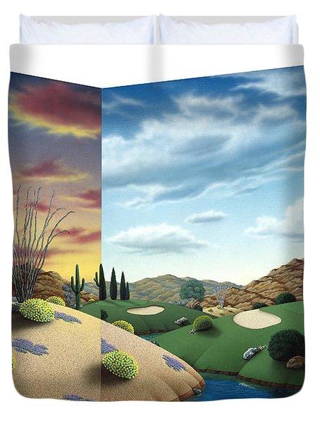 Desert Golf Duvet Cover by Snake Jagger