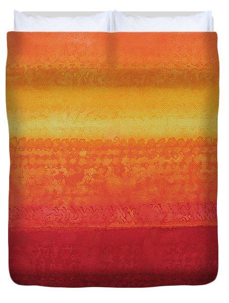Desert Horizon Original Painting Duvet Cover by Sol Luckman