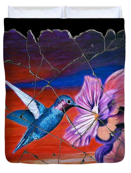 Desert Hummingbird Duvet Cover by Steve Bogdanoff