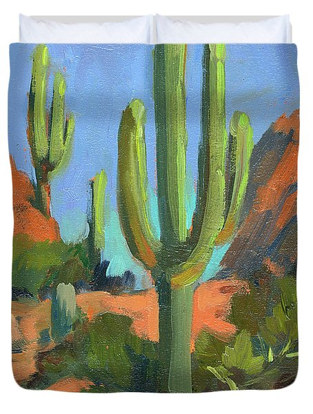 Desert Morning Saguaro Duvet Cover by Diane McClary