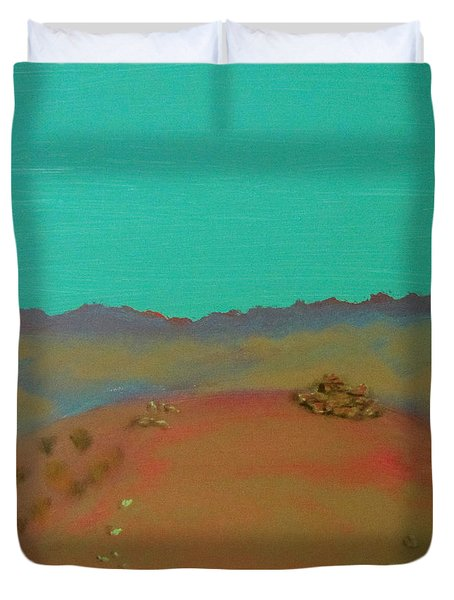 Duvet Cover featuring the painting Desert Overlook by Keith Thue