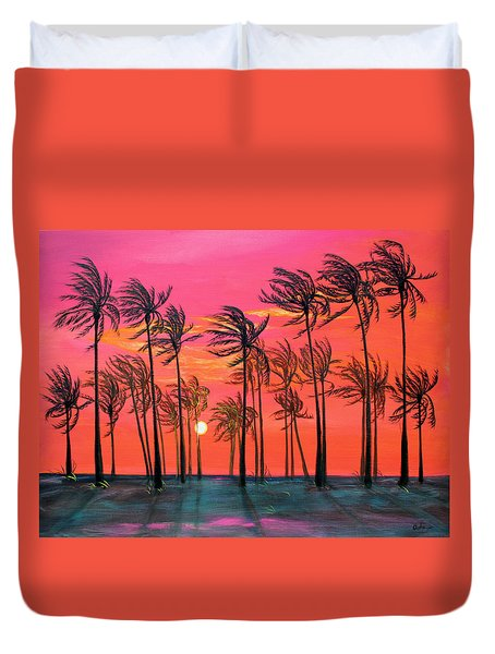 Desert Palm Trees At Sunset Duvet Cover by Asha Carolyn Young