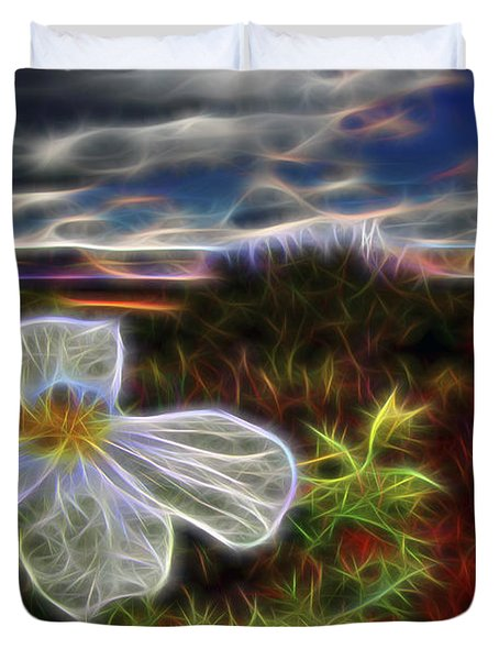 Duvet Cover featuring the digital art Desert Primrose 1 by William Horden