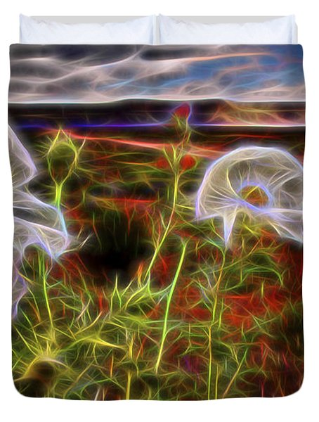 Duvet Cover featuring the digital art Desert Primrose 2 by William Horden