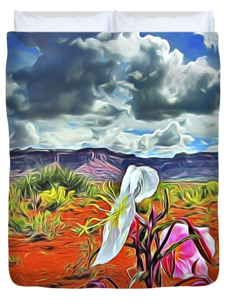 Duvet Cover featuring the digital art Desert Primrose 3 by William Horden