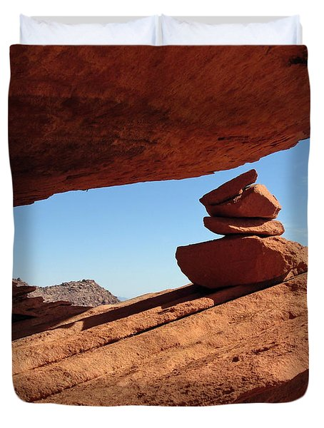 Duvet Cover featuring the photograph Desert Signpost by Alan Socolik
