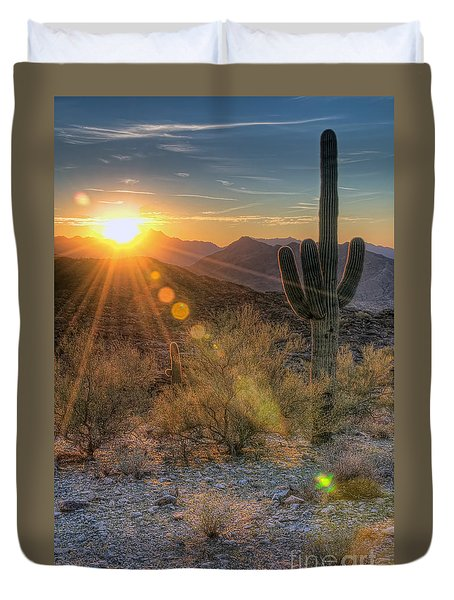 Desert Sunset Duvet Cover by Eddie Yerkish