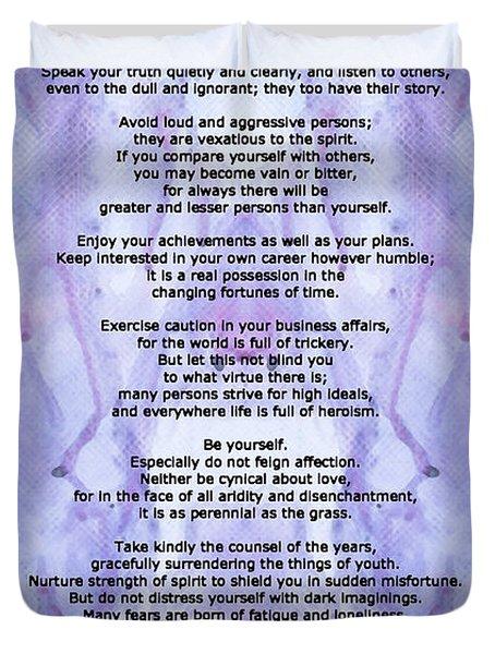 Desiderata 3 - Words Of Wisdom Duvet Cover