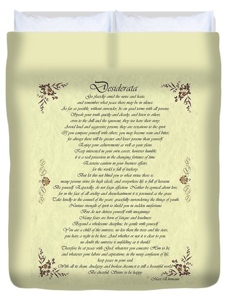 Desiderata Gold Bond Scrolled Duvet Cover